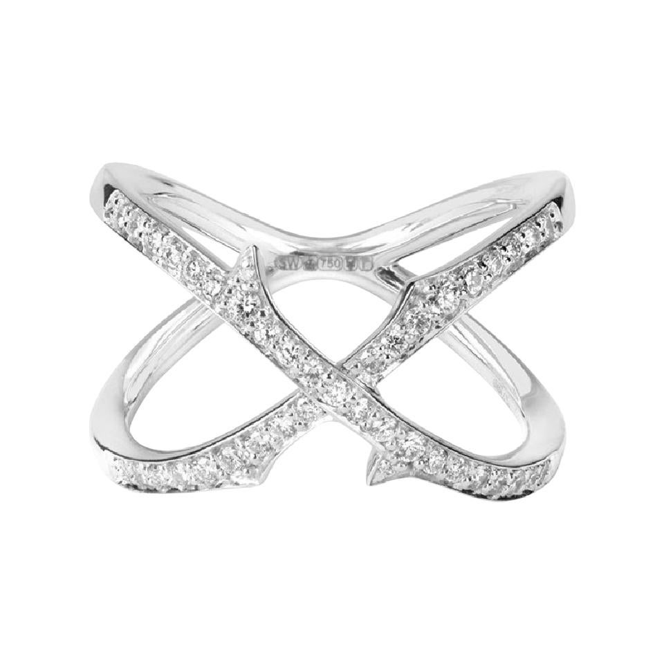 Stephen Webster Thorn 18ct White Gold and White Diamond Stem Crossover Band Ring