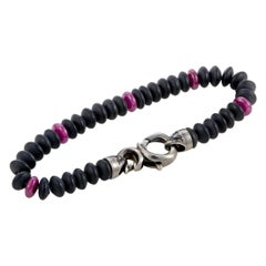 Stephen Webster Thorn Silver and Black Rhodium Ruby and Matt Onyx Beaded