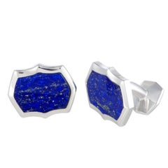 Stephen Webster Thorn Silver Lapis Inlay Rectangle Cufflinks