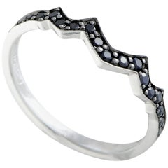 Stephen Webster Thorn Sterling Silver Black Sapphire Pave Thin Band Ring