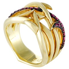 Stephen Webster Thorn Womens Gold-Plated Silver and Ruby Band Ring