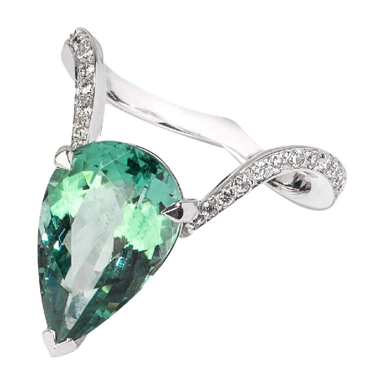 Stephen Webster Tourmaline and White Diamond Pavé 18ct White Gold Cocktail Ring