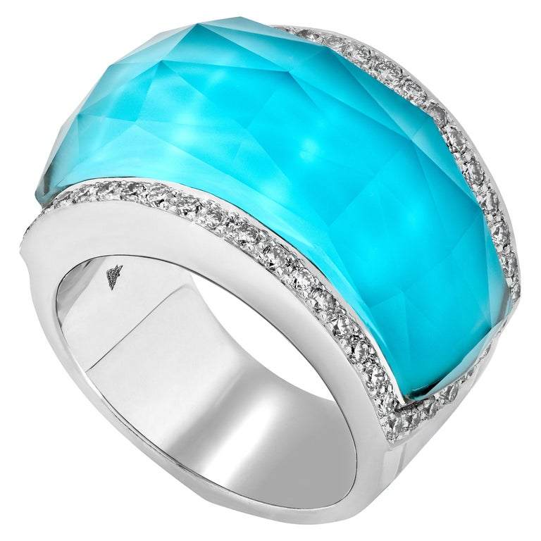 Crystal Haze turquoise and white diamond pavé cocktail ring