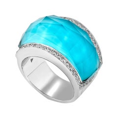 Stephen Webster Turquoise Crystal Haze and White Diamond Pavé Cocktail Ring