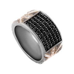 Stephen Webster UK Silver and Rhodium Black Sapphire Union Jack Ring