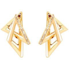 Stephen Webster Vertigo Acute 18 Karat Gold and White Diamond '0.22 Carat' Hoops