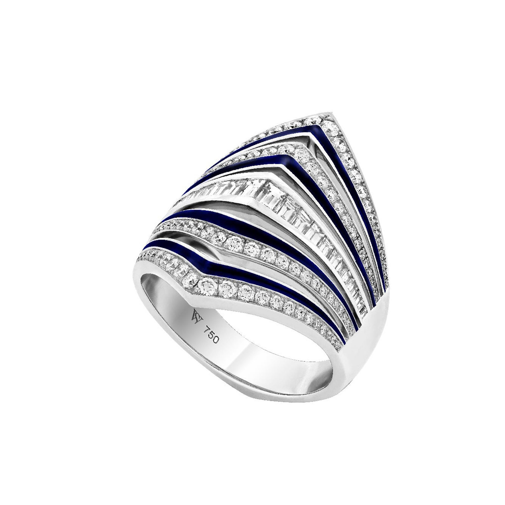Stephen Webster Vertigo Gaining Perspective 18 Carat White Gold and Diamond Ring