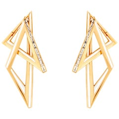 Stephen Webster Vertigo Infinity 18 Karat Yellow Gold and White Diamond Hoops