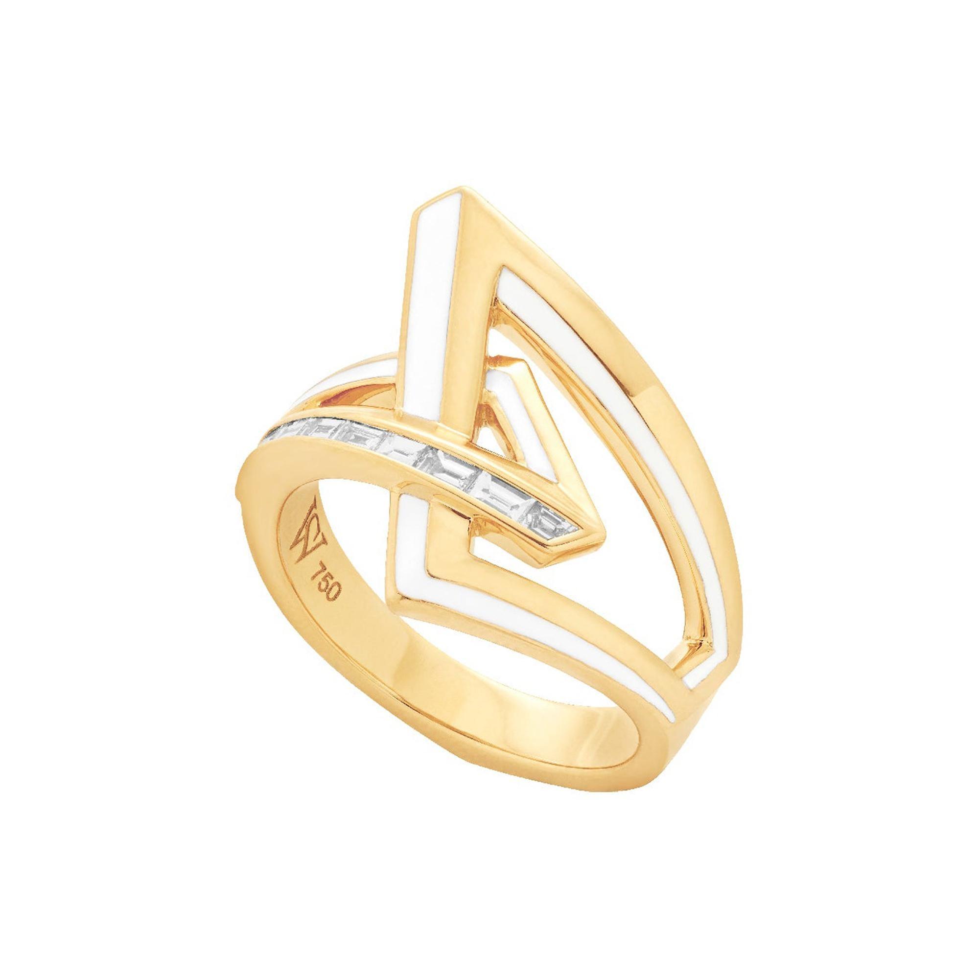 Stephen Webster Vertigo Obtuse 18 Carat Gold and White Diamond '0.29 Carat' Ring