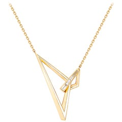 Stephen Webster Vertigo Obtuse 18 Karat Yellow Gold and White Diamond Necklace