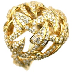 Stephen Webster White Diamond and 18 Carat Yellow Gold Poison Ivy Bobble Ring