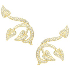 Stephen Webster White Diamond and 18 Carat Yellow Gold Poison Ivy Earcuffs
