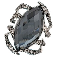 Stephen Webster White Gold 17.20 Carat Marquise Hematite and Diamond Ladies Ring