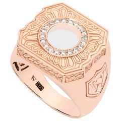 Stephen Webster's England Made Me 18k Rose Gold and White Diamond Men's Ring