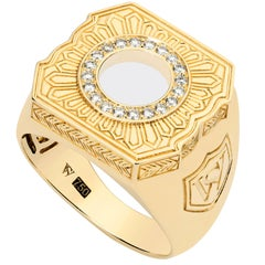 Stephen Webster England Made Me 18K Yellow Gold and White Diamond Men's Ring