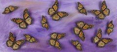 Lavender Butterfly Study, Embroidery Assemblage