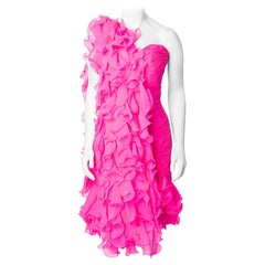Stephen Yearick 1990s Bright Pink Ruffle Scarf and Strapless Dress