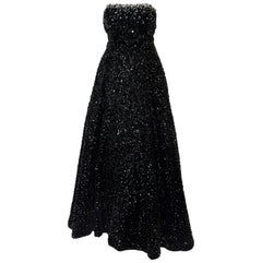 Stephen Yearick Black Sequined Strapless Gown With Silver Tone Beaded Trim