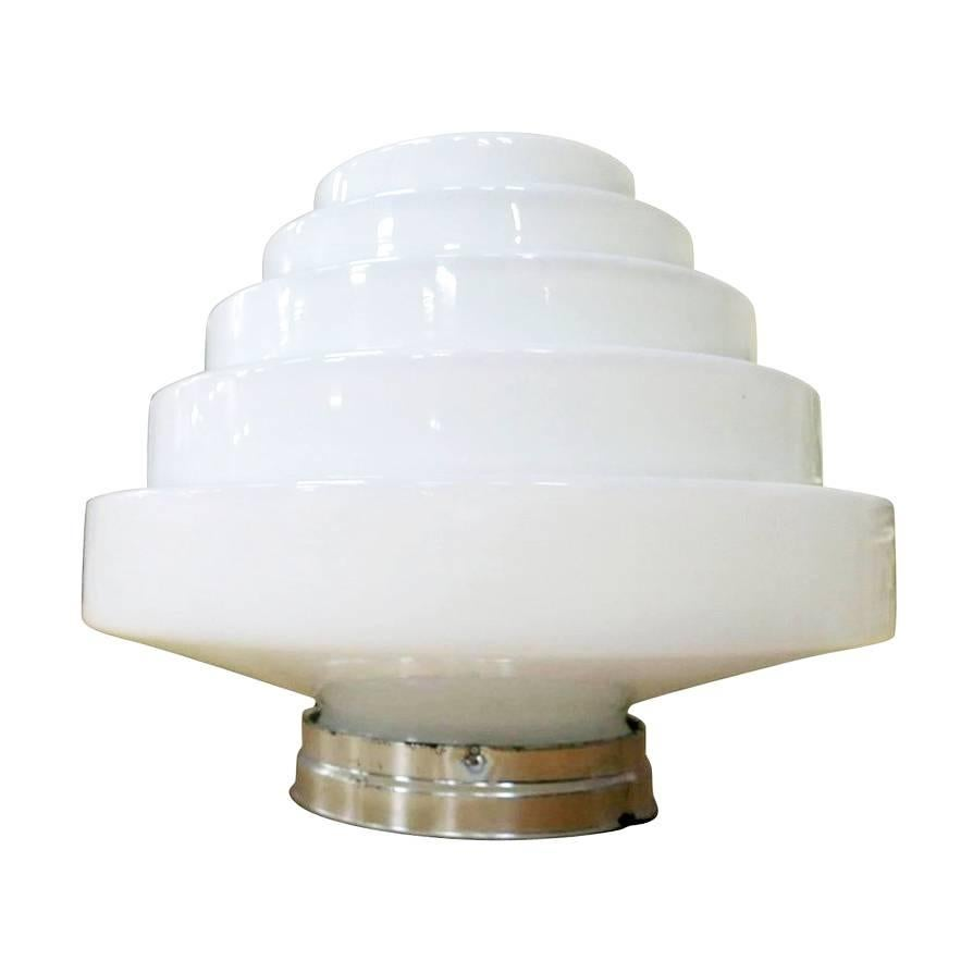 Stepped Art Deco Skyscraper Ceiling Mounted Globe with Fixture
