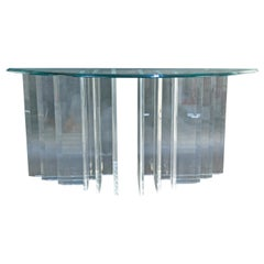 Stepped Lucite and Glass Console Table
