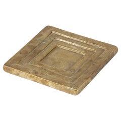 Stepped Square Bronze Dish Vide-Poche, France, 1960s