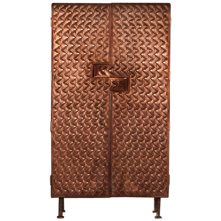 Steppes Copper Armoire, Signed by Michael Gittings For Sale