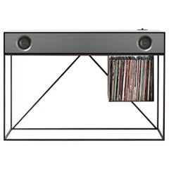Stereo Console Table Black Cabinet with Grey Speaker Front with Turntable