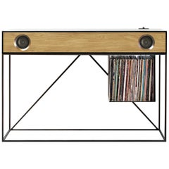 Stereo Console Table Black Cabinet with Oak Speaker Front with Turntable