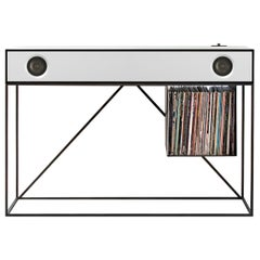 Stereo Console Table Black Cabinet with White Speaker Front with Turntable