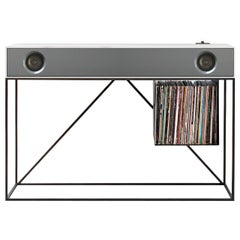 Stereo Console Table Natural Walnut Cabinet with Grey Front with Turntable