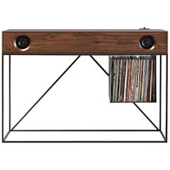 Stereo Console Table Natural Walnut Cabinet with Walnut Front with Turntable