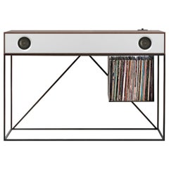 Stereo Console Table Natural Walnut Cabinet with White Front with Turntable