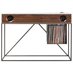 Stereo Console Table White Cabinet with Walnut Speaker Front with Turntable