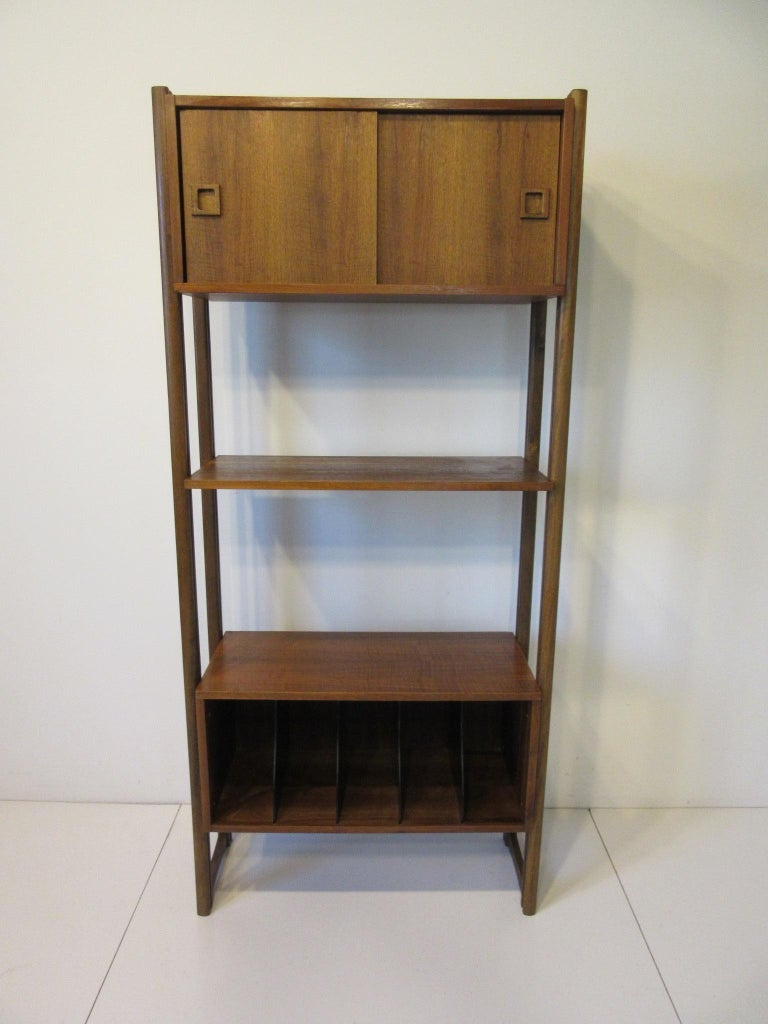 Stereo / Record Walnut Storage Wall Unit For Sale 5