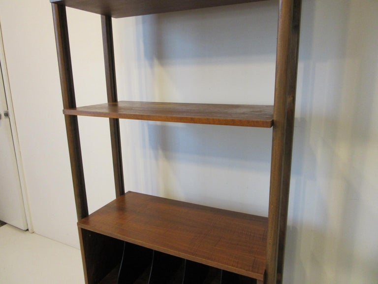 Mid-Century Modern Stereo / Record Walnut Storage Wall Unit For Sale