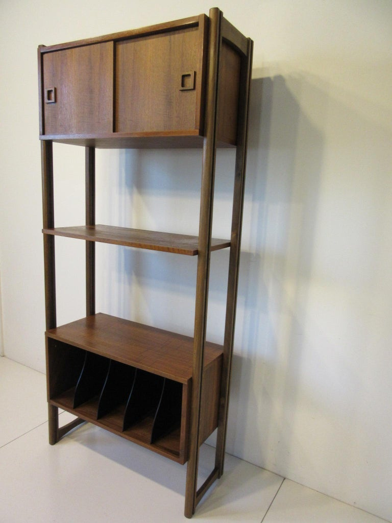 20th Century Stereo / Record Walnut Storage Wall Unit For Sale