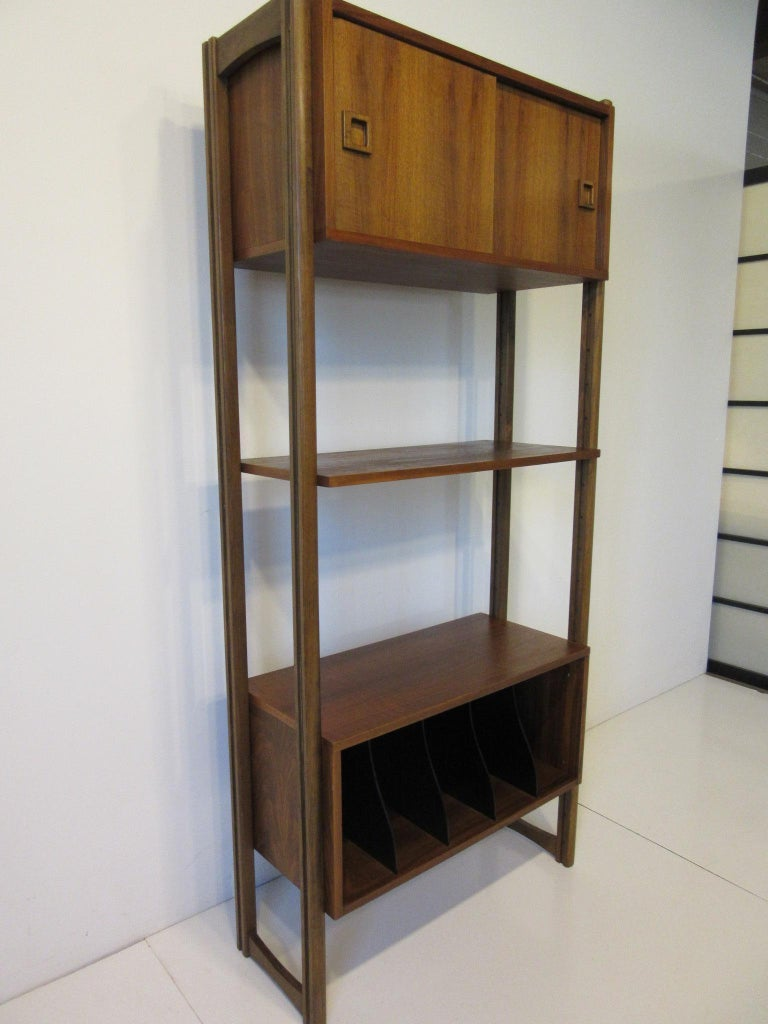 Stereo / Record Walnut Storage Wall Unit For Sale 1