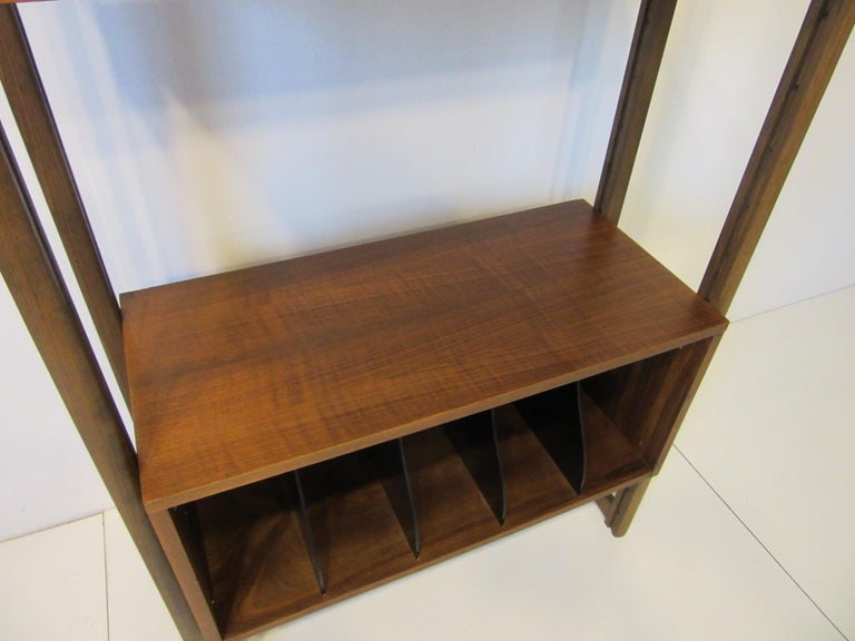 Stereo / Record Walnut Storage Wall Unit For Sale 2