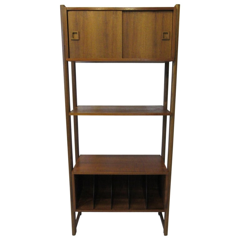 Stereo / Record Walnut Storage Wall Unit For Sale