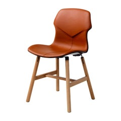 Stereo Set of 2 Brown Leather Chairs by Luca Nichetto