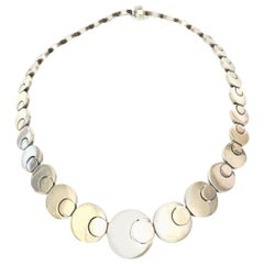 Stering Silver Hallmarked Geometric Link Necklace Vintage