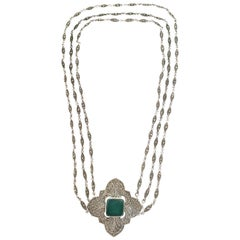 Sterl Silver Chrysoprase Marcasite 3 Strand Necklace with Pendant