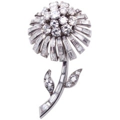Sterlé Diamond Flower Brooch, circa 1950s