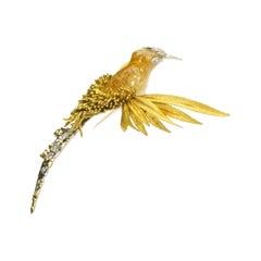 Sterlé Gold Diamond and Gem Set Bird Brooch Circa 1965