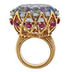 Sterle Paris 20 Carat Aquamarine Diamond Ruby Gold Ring
