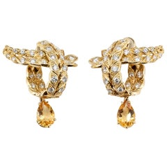 Sterle Paris Citrine, Diamond and 18 Karat Gold Day and Night Earrings