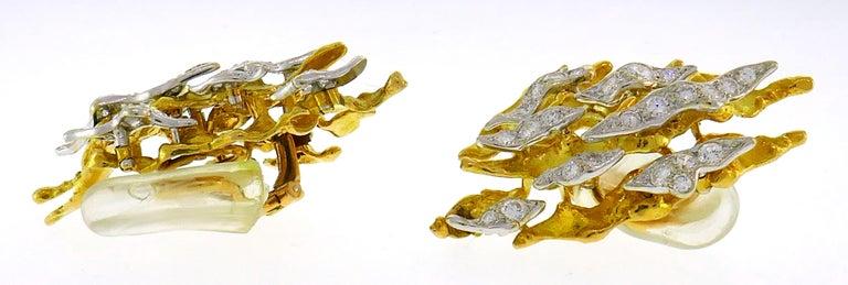 Women's Sterle Paris Diamond Gold Earrings Clip Brooch Pin Set, 1950s For Sale