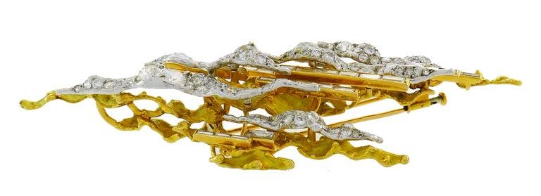 Sterle Paris Diamond Gold Earrings Clip Brooch Pin Set, 1950s For Sale 2
