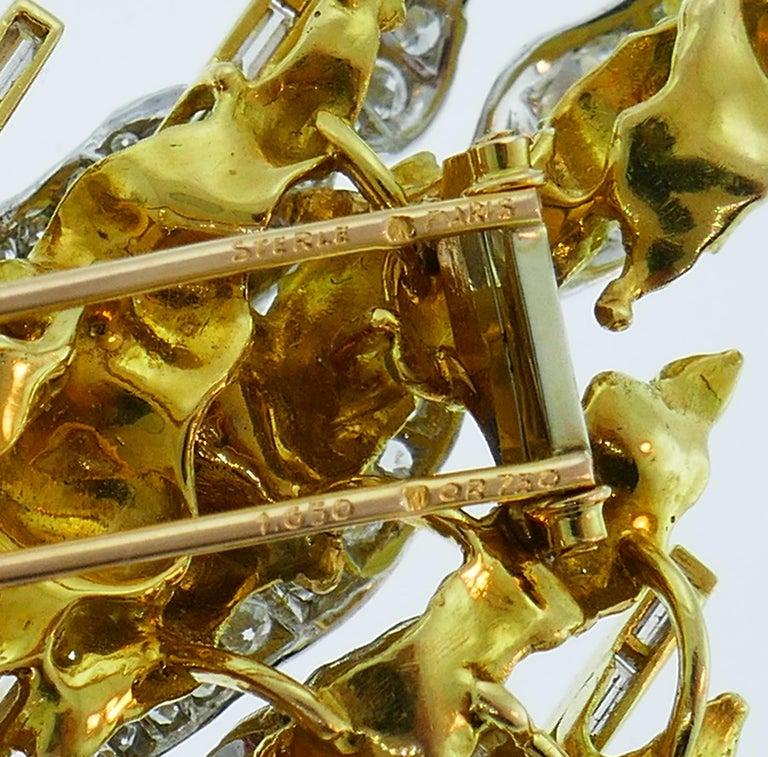 Sterle Paris Diamond Gold Earrings Clip Brooch Pin Set, 1950s For Sale 4
