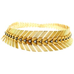 Sterle Paris Diamond Yellow Gold Choker Necklace, 1940s